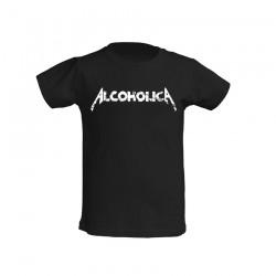 AlcoholicA White Logo T-Shirt Junior's